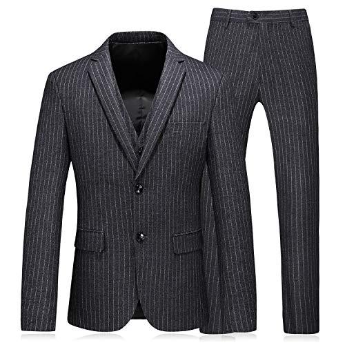 Nadelstreifen-5 Stück Anzug (P&G Herren EIN Knopf Nadelstreifen DREI Stücke Anzug Hochzeit Business Smoking)