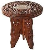 Woodenclave Wooden Corner Bedside End Table for Living Room | Brown