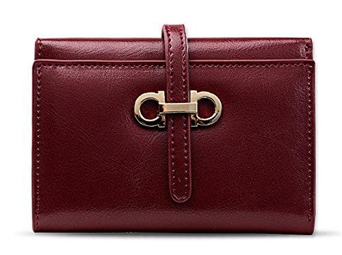 Xinmaoyuan Portafogli donna Portafogli donna in pelle Borsa breve Card Pack fibbia Casual Wallet,giallo Vino rosso