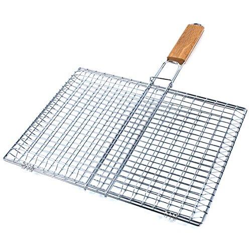 ruecab-1091-grille-de-barbecue-double-quadrille-inox-poignee-bois-argent-2-x-43-x-64-cm