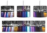 Skyline von Dubai bei Nacht schwarz/weiß inkl. Lampenfassung E27, Lampe mit Motivdruck, tolle Deckenlampe, Hängelampe, Pendelleuchte - Durchmesser 30cm - Dekoration mit Licht ideal für Wohnzimmer, Kinderzimmer, Schlafzimmer