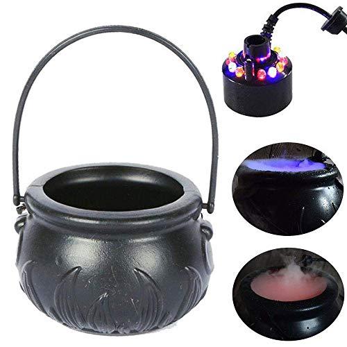 XINGXINGFAN Nebelmaschine, Mini Nebelmaschine Nebelkessel, Nebelwasserteich Gartenbrunnen Indoor Outdoor Nebelmaschine Nebelmaschine mit 12 LED Farbwechsel, für Halloween Home Patio Dekoration