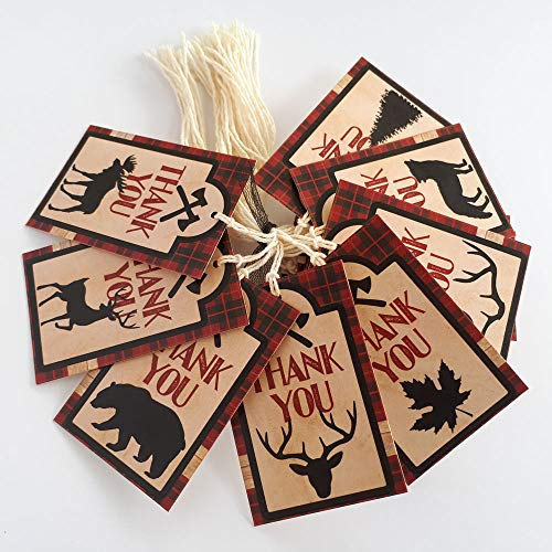 Adorebynat Party Decorations - EU Lumberjack-Party danken Sie Bevorzugung etikettieren - karierte Hochzeit Geburtstag Baby-Partei-Dekor-Dusche - Set 24 (Elch-jagd-dekor)
