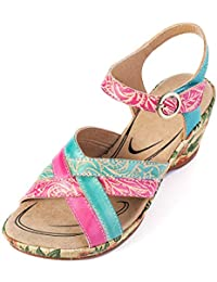 013d866ed67 gracosy Sandalias Cuero Verano Mujer Estilo Bohemia Zapatos de Tacón Medio  para Mujer de Dedo Cuña Sandalias Talla Grande Chanclas…