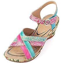 ed823f4e472b3 gracosy Sandalias Cuero Verano Mujer Estilo Bohemia Zapatos de Tacón Medio  para Mujer de Dedo Cuña