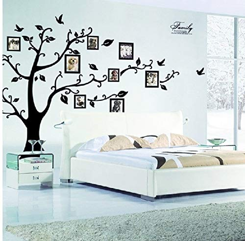 PotteLove Family Photo Frame Tree Wall Stickers Vinyl DIY Art Mural Peel and Stick Wall Decals For Home Living Room Bedroom Decorations