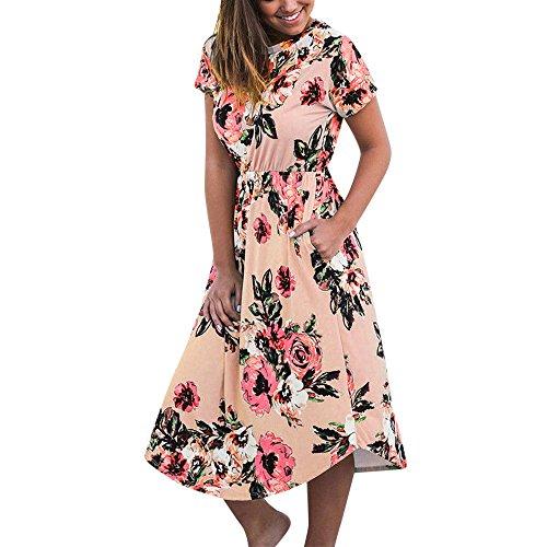 Bellelove Damen T-Shirtkleid Tunika Casual Lässiges Blumendruck Kurzarm Sommerkleid Lose Rundhals Bluse Kleid Böhmen Knielang Etuikleid -