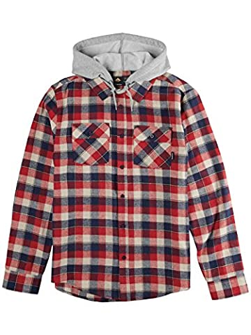 Emerica Cashus Hooded Ls Flannel, Couleur: Red/Navy, Taille: XL
