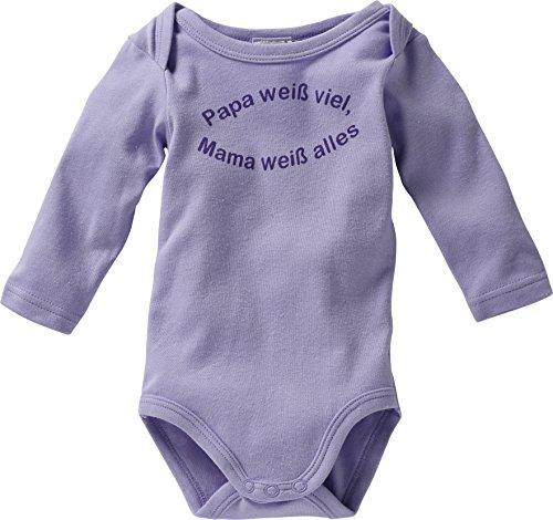 Schnizler Unisex Baby Body Langarm mit Spruch: Papa Weiß Viel, Mama Weiß Alles, Violett (Flieder 10), 62 (Herstellergröße: 62/68)