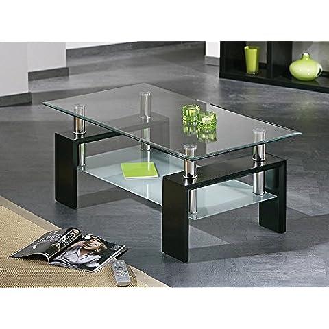 HOGAR24 - Mesa de centro de cristal con patas de madera, color negro