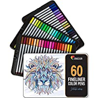 60 fineliners pens - 60 unique colors (with no duplicates) - 0.4 mm fine tip felt pens -Water-based ink - perfect for calligraphy, precise drawings, writing, adult coloring books, comics, manga...