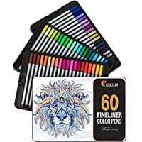 60 rotuladores punta fina Zenacolor - 60 colores únicos - Bolígrafo fineliner 0,4 mm - Tinta base agua - Perfectos para colorear (adultos), dibujar, manga, caligrafía o trabajos que requieran preción.
