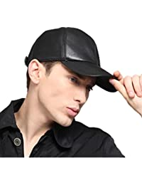 kenmont Oreillettes Visor Casquette de baseball Hiver hommes 100% réel de cuir de peau de chèvre