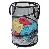 mDesign klappbarer Wäschekorb - praktischer Wäschebeutel aus atmungsaktivem Mesh-Gewebe - platzsparend zusammenklappbar - für nasse und trockene Kleidung - Wäschesack für Waschmaschine - schwarz