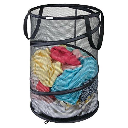Mdesign cesto panni sporchi pieghevole – pratico sacco portabiancheria in tessuto – cesto portabiancheria per panni asciutti o bagnati – nero