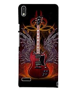Fuson 3D Printed Guitar Wallpaper Designer Back Case Cover for Huawei Ascend P6 - D874