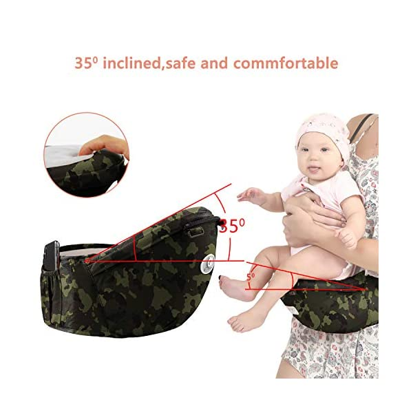 "BeeViuc Front Premium Hipseat Baby Carrier for Newborn, Baby Sling, Multifunctional, Ergonomic, 100% Cotton, Butterfly Rotary Buckle, 6 Carrying Positions - Camouflage Green BeeViuc Ultimate Comfort For Baby - The Baby Carrier is Used Soft Classical Cotton With Polyester Touching. Suit For Baby Who is Between 3-36 Months and 0-20 KG. Ultimate Comfort For Parents - An adjustable Velcro Waist Strap That Puts Some Of The Weight On Your Hips. Ultra Extand And Soft Padded Shoulder Straps For The Best Comfortable For All Parents. Baby Hip Healthy - Enable Your Baby To Be Seated in An Optimal Natural ""M Shape"" Position From Newborn To Toddler. The Carrier Has Been Acknowledged As a ""Hip-Healthy"" Product By The International Hip Dysplasia Institute. 4"
