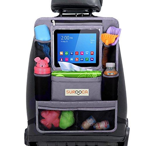 Organizador Asiento Coche, Organizador Coche, SURDOCA 4 de la generación [10 de porcelana de gran capacidad] organizador coche niños, ajuste con [10.5 & 9.7 & 7.9 iPad] perfecto organizador asiento.