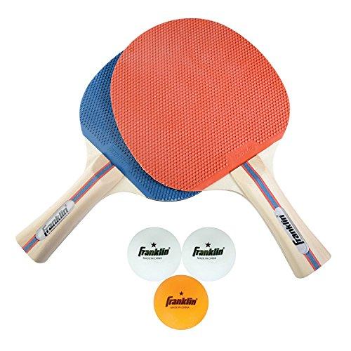 Franklin Tischtennis-Set - Tischtennisschläger-Set für 2 Personen I Sport & Freizeit I Spiel für Kinder & Erwachsene I inkl. 3 Tischtennisbälle - Blau/Rot