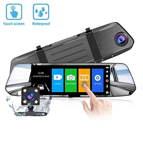 VGROUND Cámara de Coche Dash Camara de Coche Retrovisor 7 Pulgadas Touch Screen 1080P Front CAM y 720P Camara Trasera, Coche Dash CAM Kit con G-Sensor, Sistema de Monitoreo de Marcha Atrás