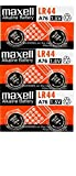 Maxell LR44 Battery , 1.5V Micro Alkaline Button Coin Cell(pack of 6 batteries)