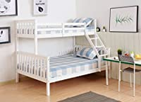 WestWood Bunk Bed Wooden Frame Children Triple Sleeper No Mattress White Single Top Double Base Furniture New