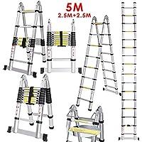Voluker 5M Escalera Plegable,Escalera Telescópica de Aluminio,Escalera Extensible,2.5M+2.5M,Carga maxima150kg