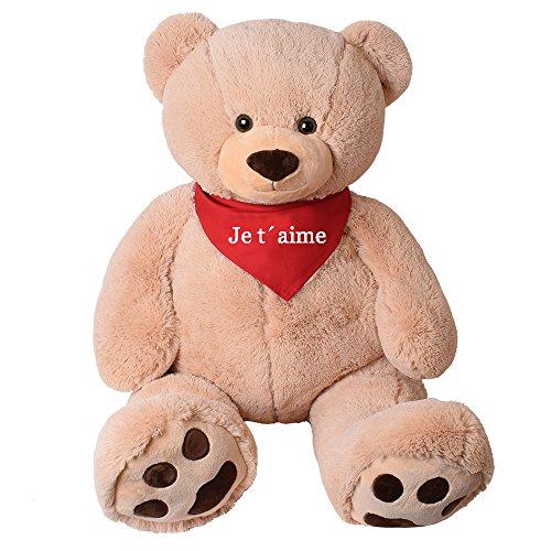 (TE-Trend XXL Riesen Teddy Tatzen Rico beige Kuscheltier Plüsch Bär 135 cm mit rotem Tuch Je T'Aime)