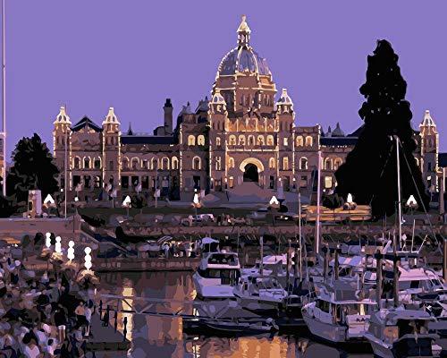 ZYCD Unterstützung Benutzerdefinierte British Columbia Parliament Building Kanada Yacht malen nach Zahlen malen Leinwand für Wohnkultur 40cmx50cm mit Rahmen
