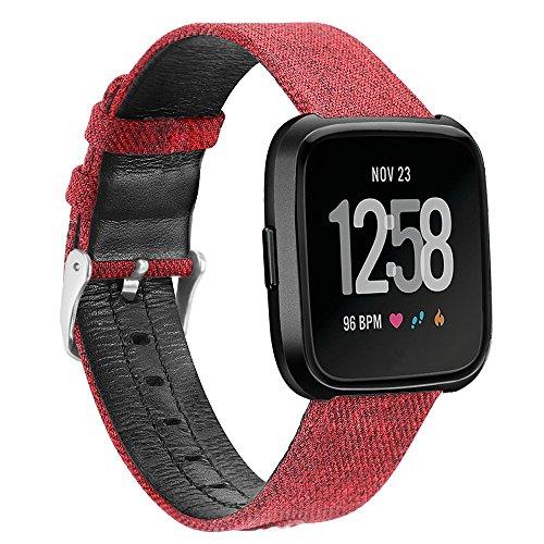 Für Fitbit Versa Ersatzarmband,COLORFUL Luxus Canvas Leder Uhrenarmband Replacement Wechselarmband watch band für Fitbit Versa,Rot (Uhrenarmband Canvas Leder)