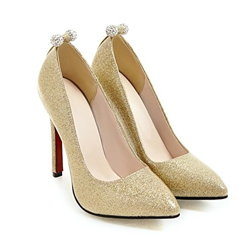 c329cbad3e43cd Aisun Damen Glitzer Paillette Lack Low Cut Strass Perlen Stiletto Pumps  Brautschuhe Gold ...