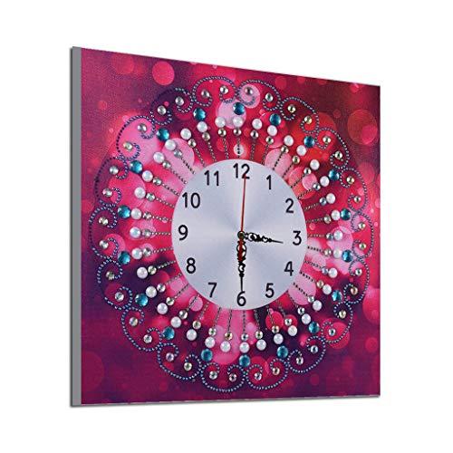 erthome 5D Special Diamond-Shaped Embroidery Wall Clock DIY Painting Diamond Diamantmalerei Leinwand, Kleber, DIY Stickerei Stift, Pinzette usw (G, 35x35cm)