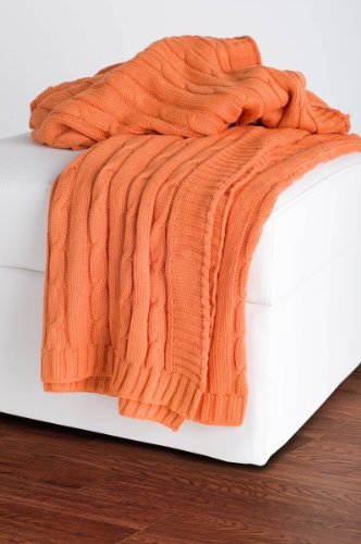 Rizzy Home Cable Knit Sweater Fabric Throw, Orange/Orange by Rizzy Home (Cable Knit Throw, Orange)