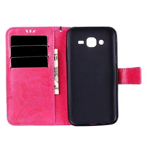 Horizontale Bookstyle Flip Case Premium PU Ledertasche, Solid Color Embossed Blumen Schutzhülle Tasche Tasche mit Lanyard & Stand für Samsung Galaxy J5 ( Color : Red ) Pink