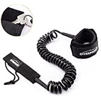 Overmont Correa Surf Leash Sup Cable en Espiral 10 pies TPU de 7mm para Paddleboard Surfboard Tabla de Surf Color Negro