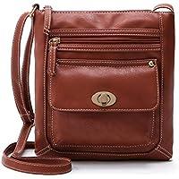 Schultertaschen Damen Btruely Retro Handtaschen Mädchen Schulter Messenger Taschen Damen Leder Umhängetasche (Braun)