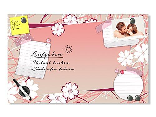 GRAZDesign 501608_80x50_GL_MT Glas-Magnettafel zum Beschreiben | Magnet-Wand für Wohnzimmer | Schickes Design mit Blüten und Witziger Notiz - Blatt - Optik (80x50cm)