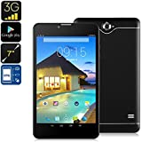 Generic 3G Android Tablet - 7 Inch Display, Dual-IMEI, 3G Support, Bluetooth, Google Play, Quad-Core, 2500mAh, WiFi, OTG (Black)