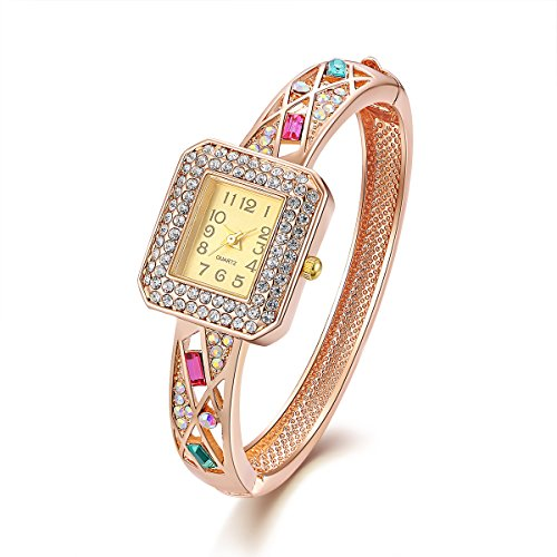 Rose Gold überzogene Stulpe Armband Armreif Schmuck Frau Square Quarz Armbanduhr mit Zirkonia für Mädchen Valentinstag Geburtstag Weihnachten Hochzeitstag Geschenk,Oven Moda