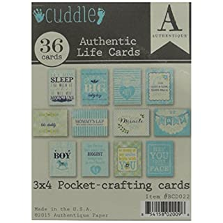 Authentique Paper Cuddle Boy Authentic Life Cards-Pocket Crafting and Journaling 3-inch x 4-inch Cards, Other, Multicoloured