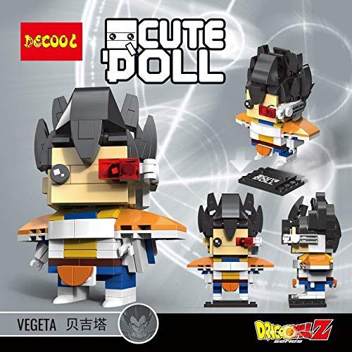 CuteDoll Figura de Vegeta Dragonball Dragon Ball Puzzle Juego Bloques de construccion tamaño 9 cm DIY Mini Building Puzzle Juguete niños colección