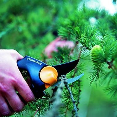 Fiskars PowerGear X Bypass-Gartenschere mit Rollgriff für frische Äste und Zweige, Antihaftbeschichtet, Hochwertiger Stahl, Länge 21,5 cm, Schwarz/Orange