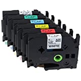 Anycolor 6x Etikettenband Kompatible Brother Original P-touch Tze-121 Tze-221 Tze-421 Tze-521 Tze-621 Tze-721 Schwarz auf Transparent Schwarz auf Weiß Schwarz