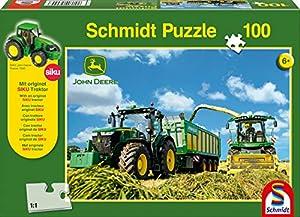 John Deere 7310R Tractor Schmidt y 8600i Puzzle de forraje Rompecabezas con Siku Modelo de Tractor (100 Piezas)