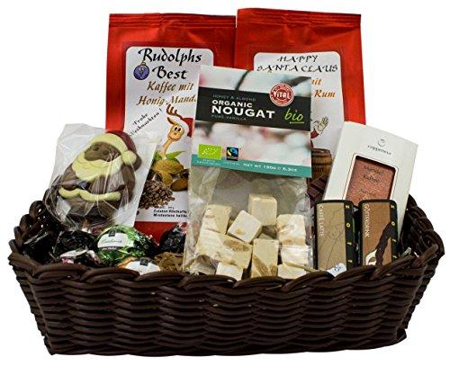 Weihnachts-Geschenkkorb mit 2 aromatischen Kaffees (Gemahlen), Bio-Nougat zum auswählen (Vanille-Himbeer), Coppeneur-Pralinen und -Tafelschokolade, Zotter Trinkschokolade und Weihnachtslolly