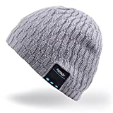 Bluetooth Beanie Hut, Rotibox Winter Trendy kurze Strickmütze mit Wireless Bluetooth...