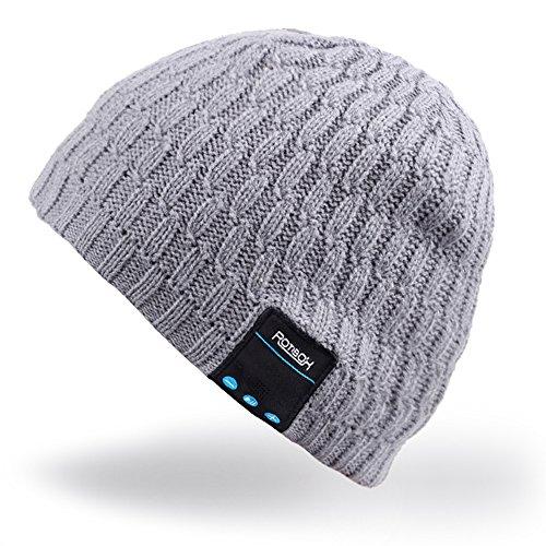 Bluetooth Beanie Hut, Rotibox Winter Trendy kurze Strickmütze mit Wireless Bluetooth Kopfhörer Headset Kopfhörer Musik Audio Freisprechfunktion für Outdoor-Sport Fitness Fitness-Workout - Grau