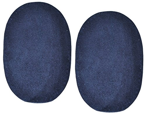 Unbekannt 2 STK. Wildleder - echtes Leder - Flicken - dunkel blau - 10 cm * 15,5 cm - oval -...