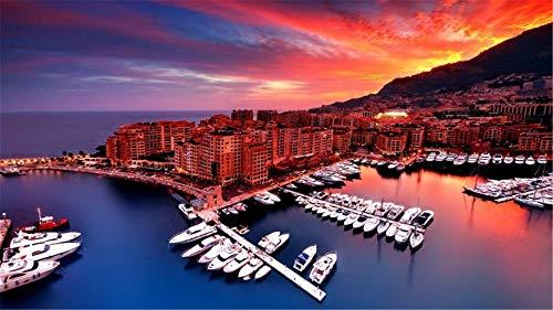 Tapeten Wandbild Sonnenaufgang in Monaco Hafen Boots Stadt für Innenministerium Fernsehwand Hintergrund Dekoration Seide (W)500x(H)280cm -