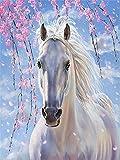yeesam Art neuen 5D Diamant Painting Kit–Plum Blossom weiß Pferd–DIY Kristall Diamant Strass Gemälde eingefügt Malen nach Zahlen Kits Kreuzstich Stickerei